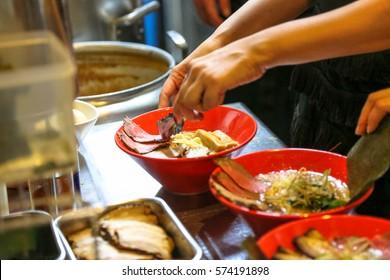 Ramen bowl cooking