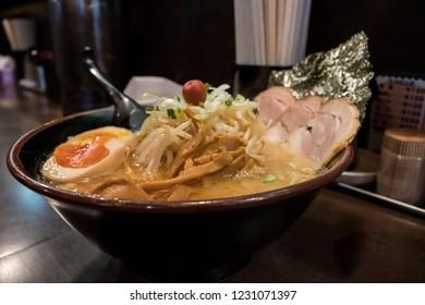 Ramen bowl recently prepared in a japanese restaurant