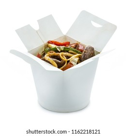 Ramen noodles with duck and vegetables in take-out box over white background. With clipping path.