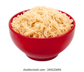 Ramen Noodles in a Red Bowl. Isolated on white with a clipping path. The image is in full focus, front to back.