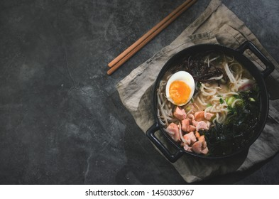 Ramen soup with egg, background