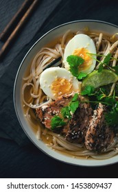 Ramen soup with egg and meat, asian food
