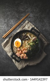 Ramen soup with egg, traditional asian food