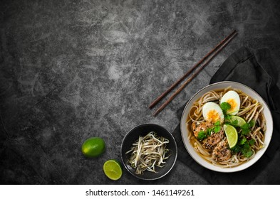 Ramen soup with eggs, asian food