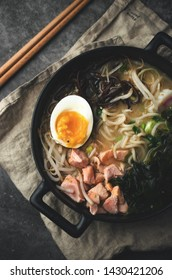 Ramen soup with salmon and egg