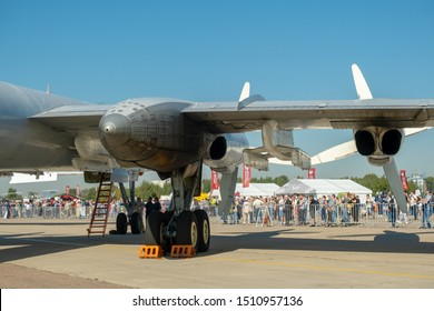 """""""RAMENSKOE"""" AIRFIELD ZHUKOVSKY, RUSSIA - AUGUST 30, 2019: MAKS 2019 INTERNATIONAL AVIATION AND SPACE SALON. The wing, engine of the Soviet turboprop strategic bomber-missile carrier Tu-95 Bear"""
