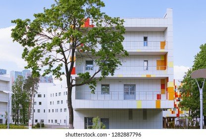 RAMENSKOYE, MOSCOW REGION, RUSSIA - MAY 13, 2018: Regional Center Of Motherhood and Childhood. The new building of the Regional Perinatal Center on the territory of the district hospital campus.