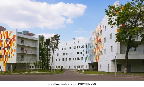 RAMENSKOYE, MOSCOW REGION, RUSSIA - MAY 13, 2018: Regional Center Of Motherhood and Childhood. View of the new building of the Regional Perinatal Center on the territory of the hospital campus.