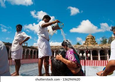 RAMESHWARAM, TAMIL NADU, INDIA 14 FEBRUARY 2018 : Unidentified Hindu pilgrims at the Corridors of Ramanathaswamy temple, Rameswaram Tamil Nadu, India.