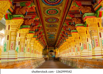 RAMESHWARAM, TAMIL NADU, INDIA 14 FEBRUARY 2018 : The magnificent corridors and massive sculptured pillars of Ramanathaswamy temple, Rameswaram Tamil Nadu, India.