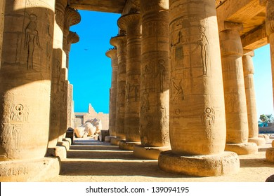 Ramesseum temple, Egypt. The Ramesseum is the memorial temple  of Pharaoh Ramesses II in the West Bank of Luxor city, Egypt.
