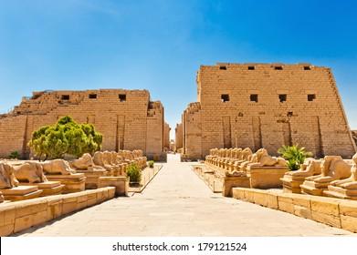 Ram-headed sphinxes ,Karnak Temple, Luxor, Egypt.