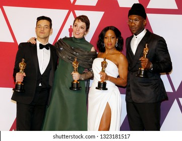 Rami Malek, Olivia Colman, Regina King and Mahershala Ali at the 91st Annual Academy Awards - Press Room held at the Hollywood and Highland in Los Angeles, USA on February 24, 2019.