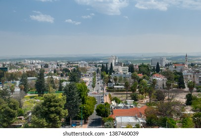 RAMLA, ISRAEL - APRIL 8, 2011: Aerial view on city of Ramla from the White Mosque - ancient Ummayad mosque. Israel
