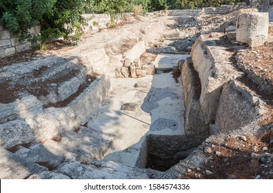 Ramla, Israel, December 07, 2019 : The remains of the mosaic floor on the ruins of the Byzantine church complex on the territory of Emmaus Nicopolis