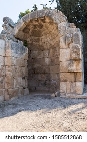 Ramla, Israel, December 07, 2019 : The ruins of the Byzantine church complex on the territory of Emmaus Nicopolis