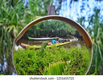 Rammang-rammang, South Sulawesi, Indonesia - August 2018: Visitors to the Rammang-rammang karst area in South Sulawesi will increase during the dry season in August