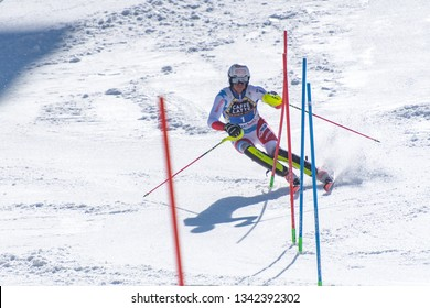 RAMON ZENHAEUSERN SUI  takes part in the RACE run for the men´s Slalom race of the FIS Alpine Ski World Cup Finals at Soldeu-El Tarter in Andorra, on March 17, 2019.