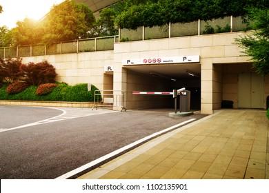 Ramp access to underground public parking garage