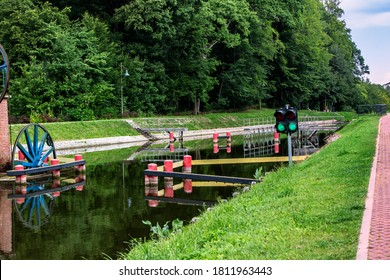 The ramp on the Elblag's Canal in Poland. View of the place where the ship is placed on the ramp for transport on the grass.