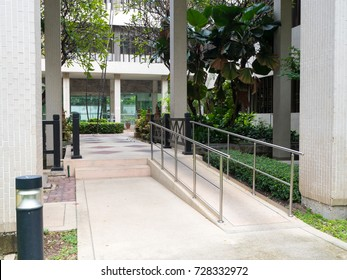ramp way to support wheelchair disabled people infront of the office building