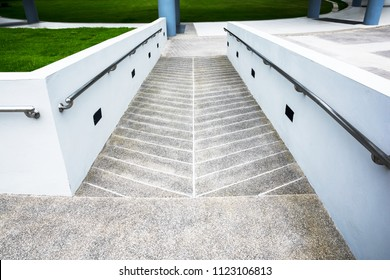 Ramp for wheelchair at the building background