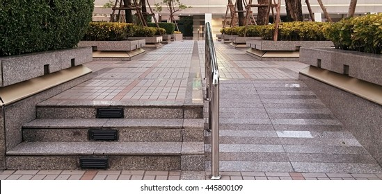 Ramp For The Wheelchair And Stairs For Normal People (overcast Weather)
