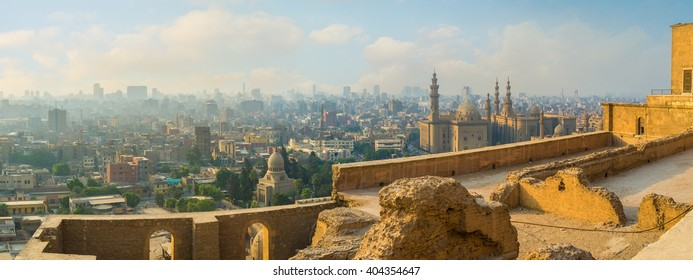 The ramparts of Saladin Citadel are the best place to enjoy the cityscape, Cairo, Egypt.