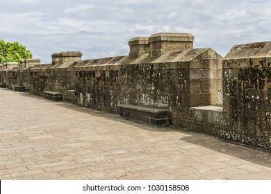 The ramparts of the walled city of Saint Malo. Saint-Malo is a walled port city in Brittany on English Channel, Emerald Coast, Ille et Vilaine, France.