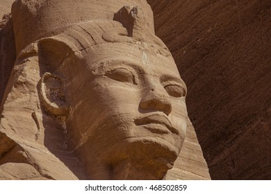 Ramses face Abu Simbel. Portrait of Ramses in front of the Great Temple in the temple complex of Abu Simbel