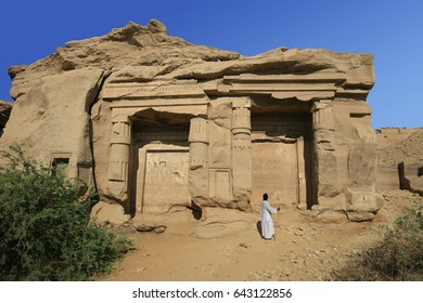 Ramses II and Merenptah chapels in Gebel el-Silsila, along the Nile river and by the desert