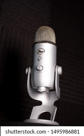 Ramsey, New Jersey / United States of America - September 3 2019: Blue Yeti Microphone with Windscreen