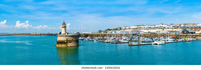 RAMSGATE, KENT, UK - JUNE 03, 2018: Ramsgate's Royal Harbour Marina which belongs to Thanet District Council,  was developed in 1976 and offers 700 moorings in a picturesque and historic setting.