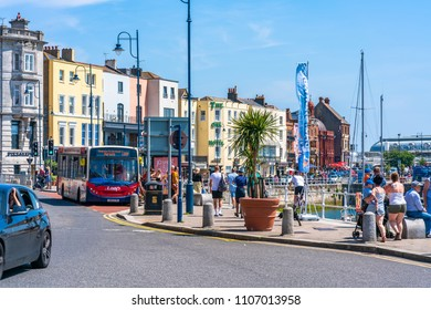 RAMSGATE, KENT, UK - JUNE 03, 2018: Street view in Ramsgate, a seaside town in Thanet district in east Kent. Ramsgate's main attraction is its coastline and its main industries are tourism and fishing