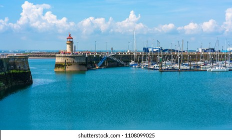 RAMSGATE, KENT, UK - JUNE 03, 2018: Ramsgate Port is a harbour run by the local authority - Thanet District Council. It serves cross-Channel freight traffic and smaller working and pleasure craft.