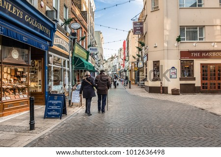 Ramsgate, UK - Jan 22 2018.  Local people shopping on Harbour St in Ramsgate, a town with many Regency and Victorian buildings. A coastal  town in the district of Thanet in east Kent, England.