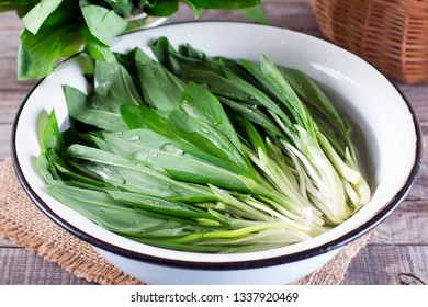 Ramson or wild garlic leaves in a bowl of water on the table