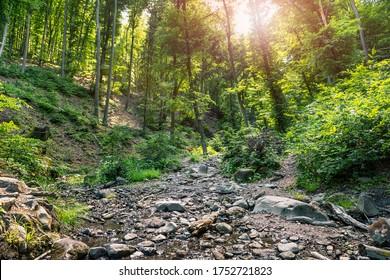 Ram-szakadek, Ram Ravine or Ram Canyon near the village Dobogoko and Domos in Hungary, a very popular and beautiful hiking, trekking trail and tourist attraction