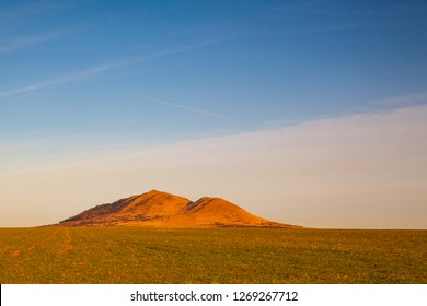 Rana hill. Autumn scenery in Czech Bohemian Uplands, Czech Republic. It is the center of the hang gliding, training and operation of a parachute hang gliding and model gliding.