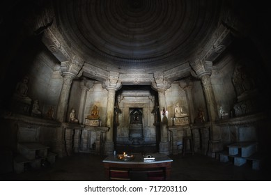 Ranakpur, India - February 2, 2017: Interior of the majestic jainist temple at Ranakpur, Rajasthan, India. Architectural details of stone carvings, ultra wide angle fish eye view.