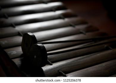 Ranat ek and Ranat ek bars in dark style, Thai musical instrument.
