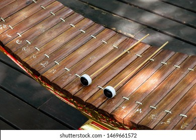 Ranat Ek or Xylophone Thai instruments,Thai Wood Alto bamboo xylophone on stand for music.