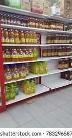 Ranau, Malaysia - Dec 28, 2017: Various of cooking oils sold in supermarket.
