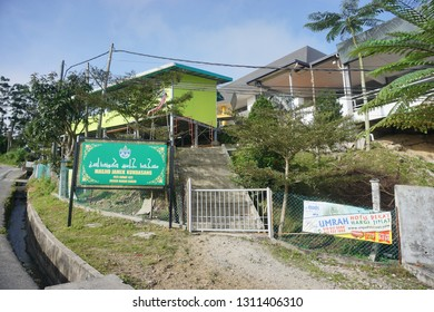 RANAU, MALAYSIA-FEB 9, 2019: Masjid Jamek Kundasang signboard in Kundasang town.