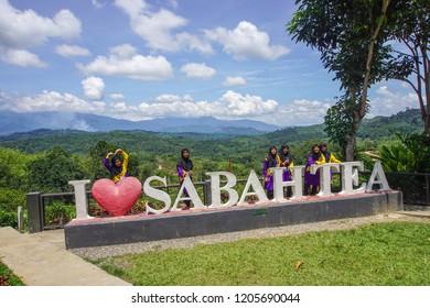 Ranau Sabah Malaysia - Dec 28, 2017 : I Love Sabah Tea road Sign board in in Ranau,Sabah Borneo,Malaysia.