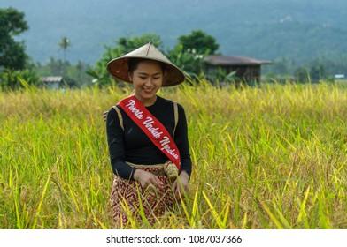 RANAU, SABAH, MALAYSIA- May 1,2018: Beautiful Kadazandusun  girls in traditional costume for Unduk Ngadau Kaamatan. the Kaamatan cultural event in Ranau, Sabah.