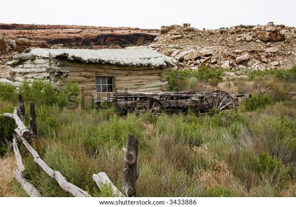 Ranch house on a farm in the desert