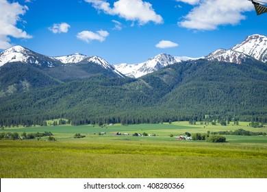 Ranch land near the Wallowa Mountains in Oregon