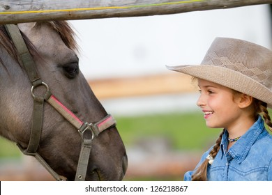 Ranch - Lovely girl with horse on the ranch, horse whisperer