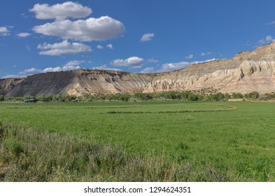 ranches and green fields in the valley of Paria river along Utah State Route 12 (Scenic Byway 12)  (Garfield county, Utah)